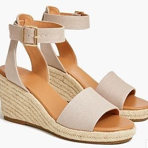 J Crew Canvas Espadrille Wedges in Cream Oatmeal